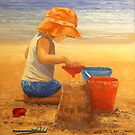 Fun in the Sand - Oil Painting on Canvas by Alison Murphy