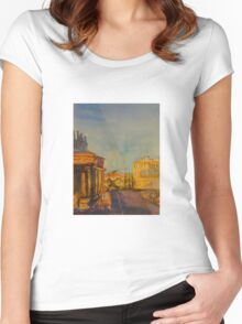 Streetscape Lancefield (watercolour) Victoria Australia Women's Fitted Scoop T-Shirt