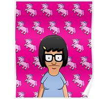 Tina Belcher Unicorn Pattern Hot Pink Poster