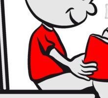 loo sitting wc little boy reading Sticker