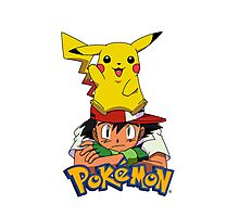 Ash with Pikachu - pokemon Photographic Print