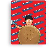 Gene Belcher Keyboard Pattern Red Canvas Print