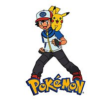 Ash with Pikachu 002 - pokemon Photographic Print