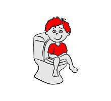 loo wc sitting little boy Photographic Print