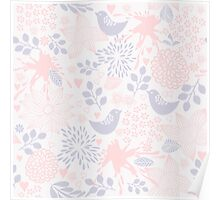 colorful floral pattern in doodle style Poster