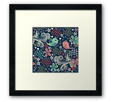 colorful floral pattern in doodle style Framed Print
