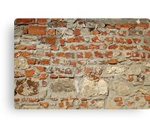 Weathered stained old brick wall background Canvas Print