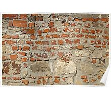 Weathered stained old brick wall background Poster
