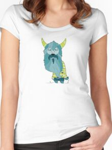 Scary Devil Monster with Blue Beard and Green Goat Horns Women's Fitted Scoop T-Shirt