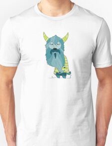 Scary Devil Monster with Blue Beard and Green Goat Horns T-Shirt