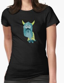 Scary Devil Monster with Blue Beard and Green Goat Horns Womens Fitted T-Shirt