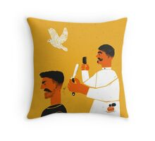 An accident in the barber shop Throw Pillow