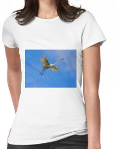 Stunning Egret in Flight Womens Fitted T-Shirt