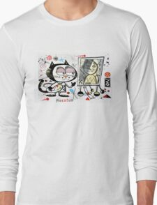 Cartoon cat painting picasso style self portrait Long Sleeve T-Shirt