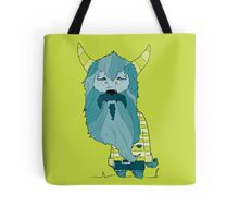 Scary Devil Monster with Blue Beard and Green Goat Horns Tote Bag