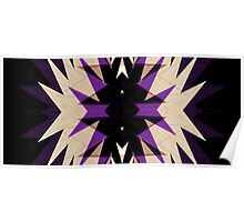 Purple Black Star Burst Neo Geo Abstract Poster