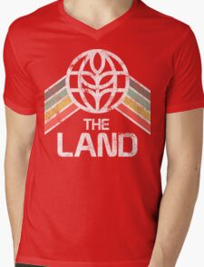 The Land Logo Distressed in Vintage Retro Style Mens V-Neck T-Shirt
