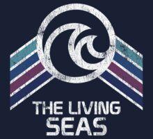 The Living Seas Distressed Logo in Vintage Retr Style Kids Tee