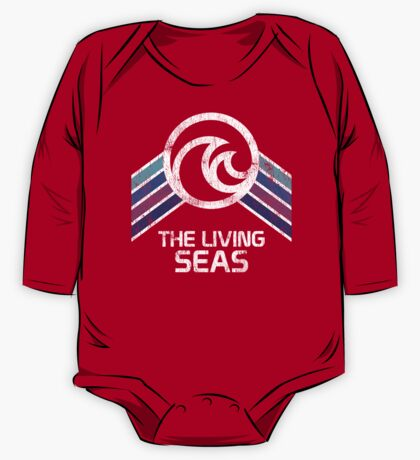 The Living Seas Distressed Logo in Vintage Retr Style One Piece - Long Sleeve
