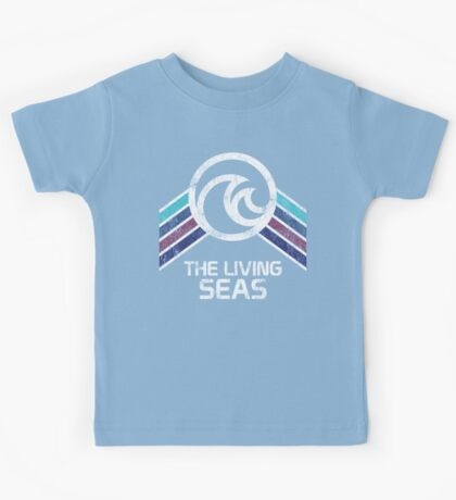 The Living Seas Distressed Logo in Vintage Retr Style Kids Tee