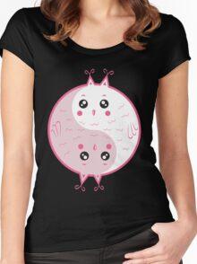 Cute owls yin yang Women's Fitted Scoop T-Shirt