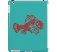 THE RED SCORPION FISH ( RED ON TOURQUOISE ) iPad Case/Skin