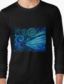 Big blue whale into the space of Universe with silhouette of man. Long Sleeve T-Shirt