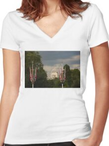 British Symbols and Landmarks - Exploring London on a Cloudy Day Women's Fitted V-Neck T-Shirt