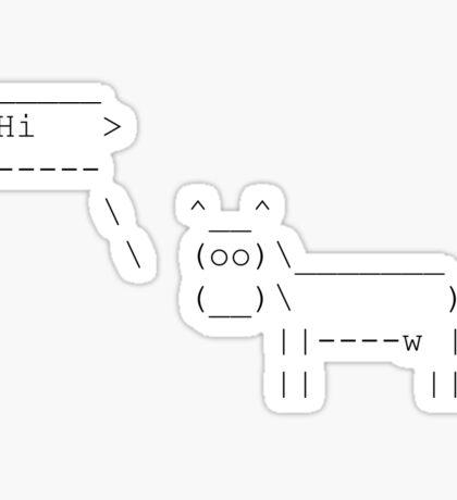Cowsay - Hi  - black Sticker