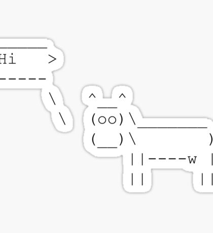 Cowsay - Hi  - black Sticker