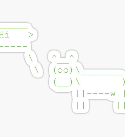 Cowsay Hi - green Sticker