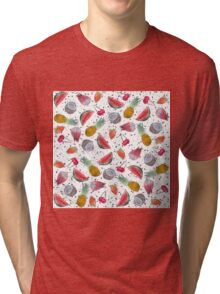 Colorful watercolor tropical summer fruits hand paint Tri-blend T-Shirt