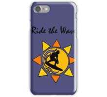 Cool Ride the Wave Surfing Art iPhone Case/Skin