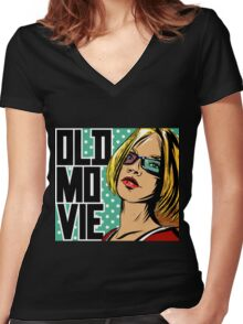 Old movie Women's Fitted V-Neck T-Shirt