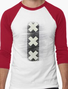 Amsterdam flag leather Men's Baseball ¾ T-Shirt