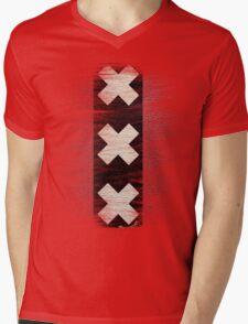 Amsterdam flag leather Mens V-Neck T-Shirt