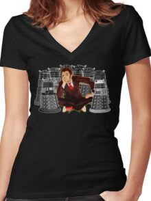Time traveller captured by mini droid robot Women's Fitted V-Neck T-Shirt