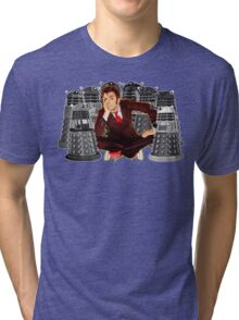 Time traveller captured by mini droid robot Tri-blend T-Shirt