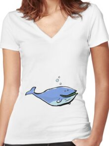 great blue Women's Fitted V-Neck T-Shirt