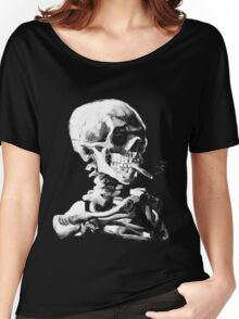 Van Gogh Skull with burning cigarette Women's Relaxed Fit T-Shirt