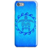 Blue Tribal Turtle Sun iPhone Case/Skin