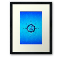 Sailboat And Compass Rose Framed Print