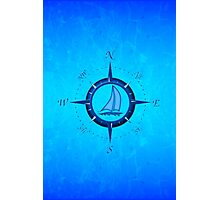 Sailboat And Compass Rose Photographic Print