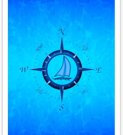 Sailboat And Compass Rose Sticker