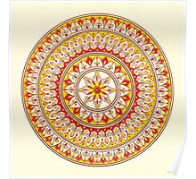Hand Draw Vibrant Yellow And Red Mandala Poster