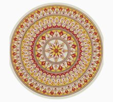 Hand Draw Vibrant Yellow And Red Mandala One Piece - Short Sleeve