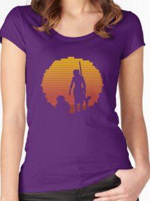 BB-8 & Rey : Jakku Sunset Women's Fitted Scoop T-Shirt