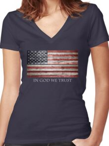 In God We Trust American Flag Women's Fitted V-Neck T-Shirt
