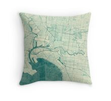 Melbourne Map Blue Vintage Throw Pillow