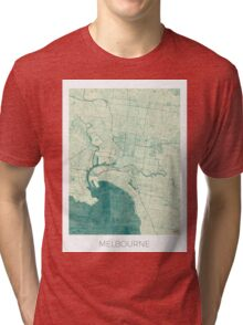 Melbourne Map Blue Vintage Tri-blend T-Shirt